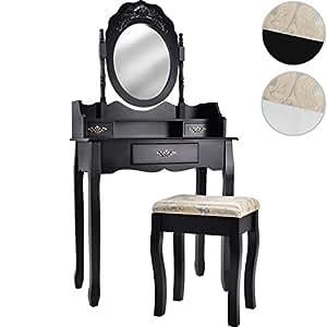 Miadomodo coiffeuse noire au style victorien avec tabouret tiroir et miroi - Coiffeuse noire avec miroir ...