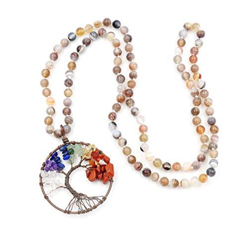 Collar de Piedras Preciosas Perlas Mala, 108 Buddhist Prayer Beads Collar, Collar anudadas a Mano (Botswana Agate)