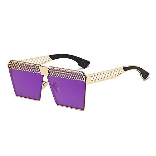 AMZTM Polarisierte Sonnenbrille für Damen Mode Hohle Design Quadratischer Metallrahmen Brille Übergroße Flache Brille (Schwarz Rahmen Lila Linse)