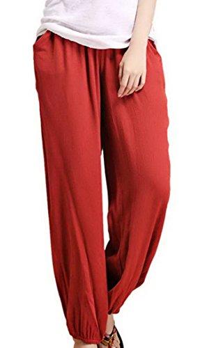 Pantalones De Pierna Para Hombres Pantalones Harem De Lino Fitness Vida Cotidiana Casual PcO91