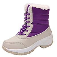 Beichuang Womens Fur Lined Snow Boots Winter Warm Waterproof Mid Calf Boots Ladies Outdoor Boots Purple 5 UK