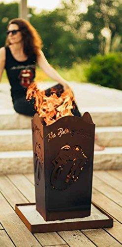 Metallmichl Edelrost Feuerkorb Rolling Stones Licks Fanartikel aus Rost Metall Höhe 66 cm 32 x 32 cm, Feuerschale für Echte Rock-Fans