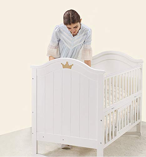 XUNMAIFLB Removable Toddler Bed, Baby Cot Bed, Multifunctional crib, solid wood baby bed (105 * 61cm/with roller) Safety XUNMAIFLB Life learning is more intimate: variable desk, smoother use, more functional, longer life. The splicing big bed is convenient for taking care: put down the half guardrail, splicing with the side of the adult bed, and taking care of the baby at close range at night. The splicable bed rails can be detached on one side of the bed; the splicing bed is just right; the night is convenient to take care of; 5