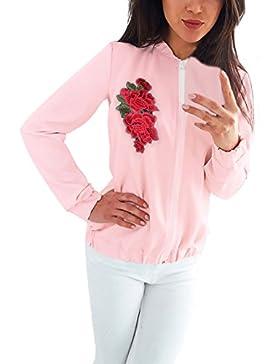 Mujer Chaquetas De Bomber Invierno Otoño Jacket Elegantes Estampadas Bordadas Flores Vintage Manga Larga Con Cremallera...