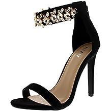 Viva Mujer Diamante Correa de Tobillo Fiesta Sandalias Noche Tacones Altos  Zapatos 4821c99c59f1