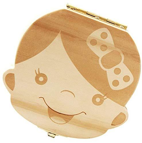 MoGist Milchzähne Zähne Box Baby Zähne Aufbewahrungs Box Keepsake Box Holz Zahndose Souvenir Box für Kinder Baby Geschenk (Mädchen, Deutsche) -