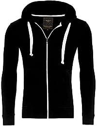 Young & Rich Hoodie Sweatjacke Herren Jacke Basic Sweater Sweatshirt Uni Hoody Kapuzenpullover Pullover mit Kapuze in der Farbe Schwarz XL