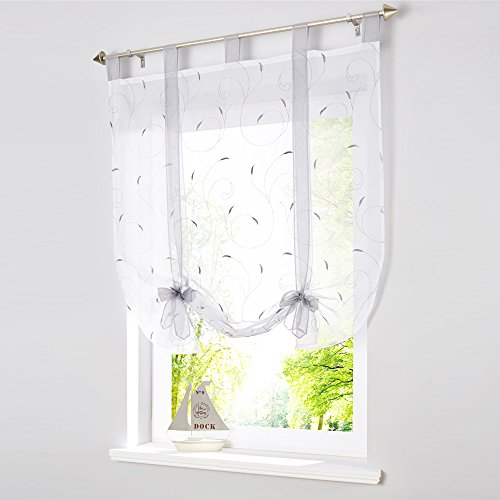 1 pc bordado de tul romano cortina sheer gasa ventana cortinas Panel W×H=140×140 cm/55×55 inch gris