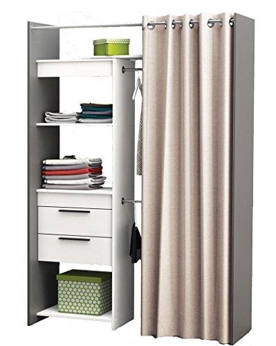 Begehbarer Kleiderschrank Vorhang Schrank weiss Wandschrank variable Breite NEU
