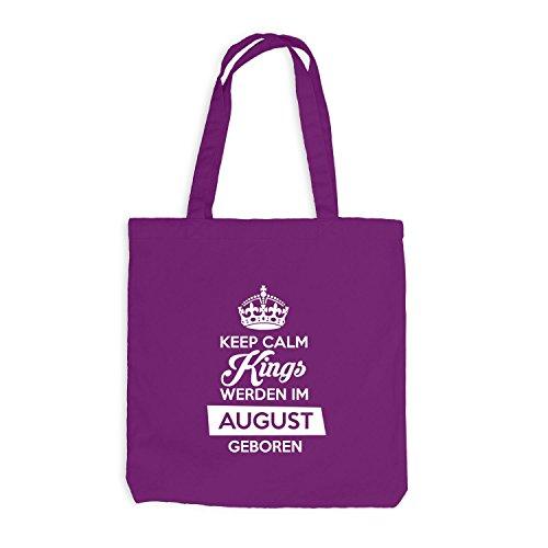 Jutebeutel - Keep Calm Kings werden im August geboren - Birthday Geburtstag Magenta