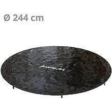 Ampel 24, Funda impermeable | Cobertura de lluvia para cama elástica con diámetro de 244 cm | protección con bajante de agua | resistente a los UV | color negro | de PVC