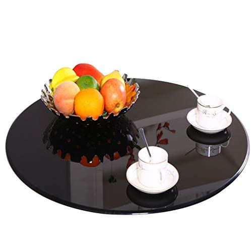 """24\"""" Rotierendes Tablett, Lazy Susan Plattenspieler, Tisch-Tablett, Ausgeglichenes Glas mit Aluminiumunterseite, Ruhig, glatt, Einfach, Nahrung zu teilen (Farbe: Schwarzes)"""