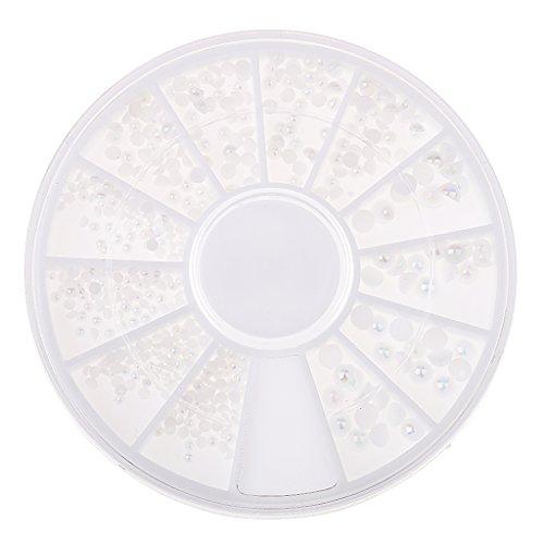 perfk Nagelschmuck Perlen Kugeln 3D Nailart Nagel Tipps Dekoration Schmuck Rad - Weiß Perlen