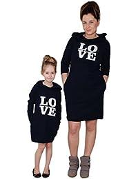 Navidad Ropa para toda la familia, Yannerr bebé chica mujeres madre hija manga larga invierno caliente Letra de amor impresiones Encapuchado con capucha Vestido camiseta Tops trajes conjunto
