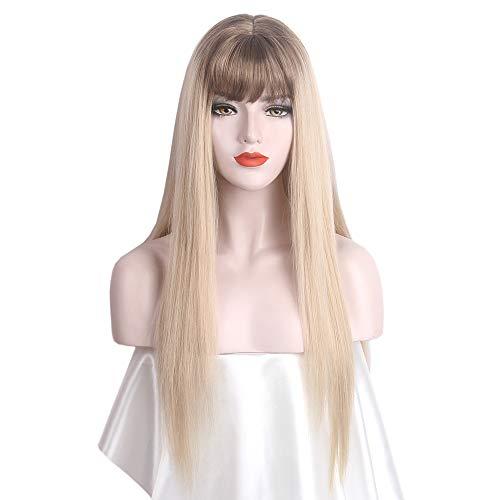 STfantasy peluca mujer Ombre marrón rubio Wig larga