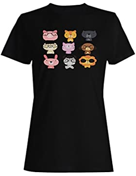 Colección dibujada mano de los animales divertida camiseta de las mujeres b148f