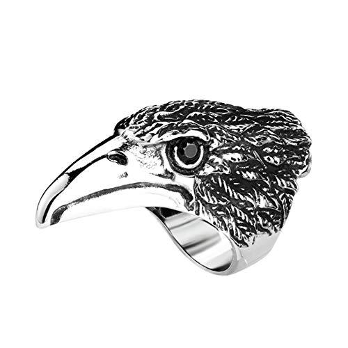 Amody Anillos góticos Águila con zirconio Negro Plata Negra Anillo de Acero Inoxidable para Hombre Tamaño 20