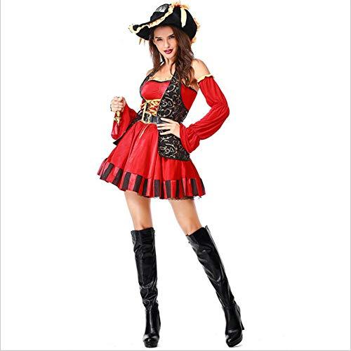 Ladies Pirate Shipmate Halloween Seeschiff Kostümfest Kostüm Outfit,Erwachsene Cosplay Fasching Karneval Piratenkostüm,Rot,L (Shipmate Piraten Kostüm)