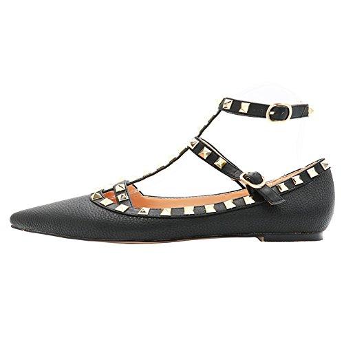 Ankle Strap Flat (EKS Damen Schwarz Niets Spitze Ankle Strap Stilett Ballerinas Flache Schuhe Lines 40 EU)