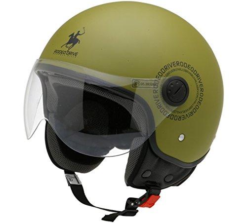 Rodeo Drive Casco Moto RD104plus, Verde militare, XS
