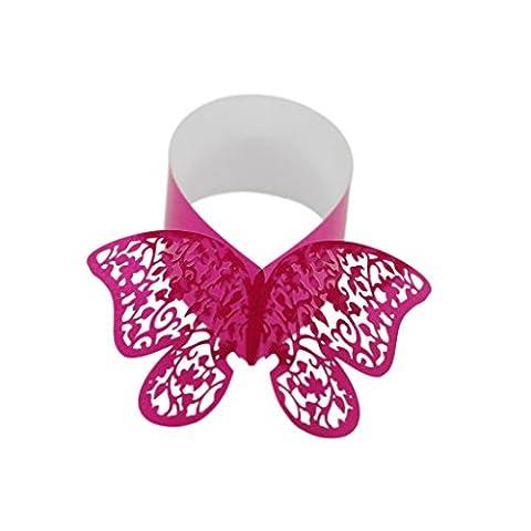 50x Butterfly Serviettenring Serviettenhalter Hochzeit Banquet Hotel Dinner Dekor - Rose Red
