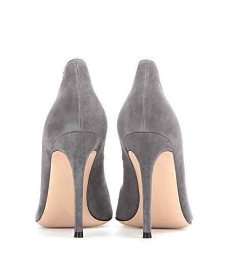 EDEFS Damen Klassische Büro Pumps Spitze Zehen Glitzer Stiletto Absatz Braut Hochzeit Schuhe mit Mehrfarbig Grau