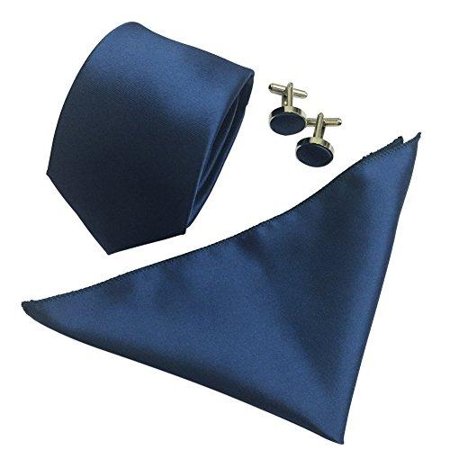 Mens Polyster 2.4'' Skinny Neck ties Cufflinks Pocket Square/Kerchief 3pcs Set (Deep Navy)
