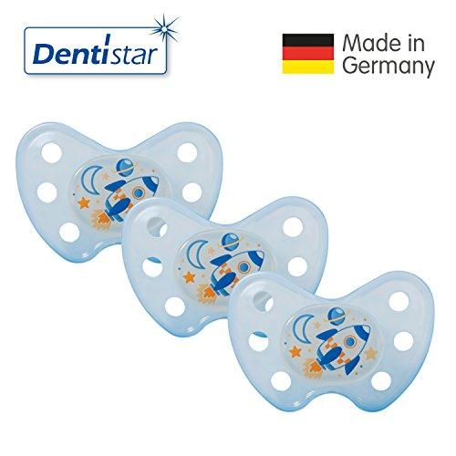 Preisvergleich Produktbild Dentistar® Night Silikon-Schnuller - Größe 3, ab 14 Monaten – Nacht-Leuchtschnuller, Nuckel leuchtend, Zahnfreundlich, Rakete blau