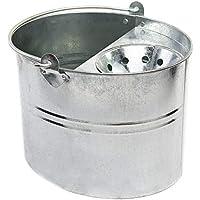 Cottam - Cubo galvanizado con escurridor, plata, 11 litros