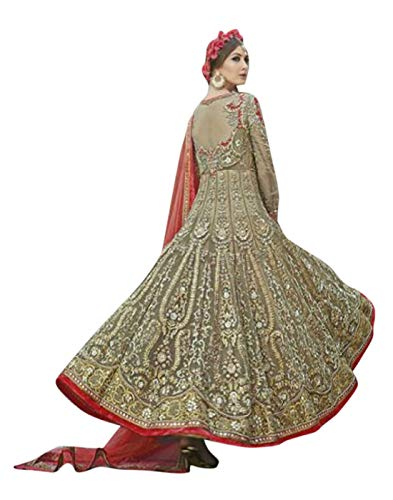 Style Amaze brings Women\'s Net Embroidered Collection Semi-Stitched Anarkali (Beige Color Mohini-10053)