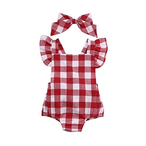 Ropa Bebe Niña Verano Fossen Recién Nacido Bebé Mono de cuadros con Horquilla (0-3 meses, Rojo)