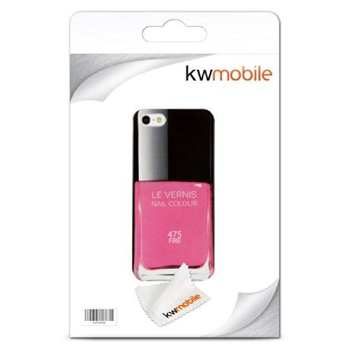 kwmobile Hülle für Apple iPhone SE / 5 / 5S - Backcover Case Handy Schutzhülle Kunststoff - Hardcase Cover Nagellack Design Rosa Schwarz Nagellack Rosa Schwarz