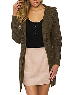 simplee donne occasionale merletto aperta davanti a cardigan maglione cappotto lungo cappuccio