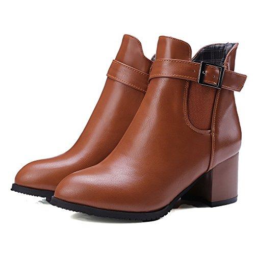 AgooLar Damen Mittler Absatz Weiches Material Niedrig-Spitze Rein Reißverschluss Stiefel Braun