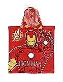 Iron Man Man Kapuzenbadetuch für Kinder, Jungen, Avengers, Rot, Einheitsgröße (2-6 Jahre), 100% Baumwolle, Rot, One Size