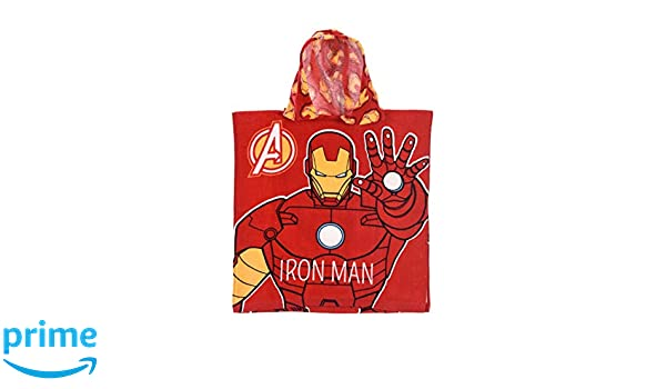 2-6ans One Size red Iron Man Bath cape hood boys Avengers Red You