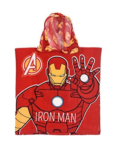 Iron Man Kapuzenbadetuch für Kinder, Jungen, Avengers, Rot, Einheitsgröße (2-6 Jahre), 100% Baumwolle, rot, one Size
