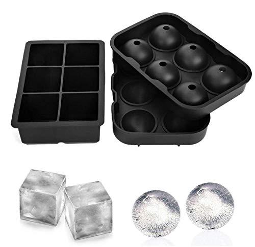 Ice Cube Tablett Combo Formen 2/Set, 100% Lebensmittelqualität Silikon Kugel/Runde Ice Ball Maker &, quadratisch, groß, Formen, BPA-frei und Recht einfach zu entfernen von Form - Infundiert Alkohol
