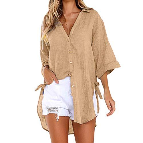 LSAltd Frauen Arbeiten Normallack-Bequeme Baumwolle Plus Größen-Lange Blusen-Oberseiten-Damen beiläufige V-Ansatz Lange Hülsen-Knopf-lose Hemd-Pullover um -