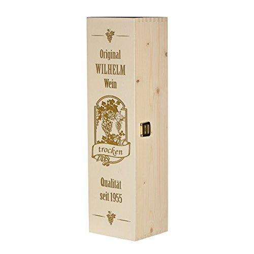 polar-effekt Weinkiste Holzbox mit Gravur - Personalisierte Geschenkbox für Weinflasche Weinpräsent - Geschenk zum Geburtstag oder Weihnachten Aufbewahrungskiste - Motiv Qualitätswein