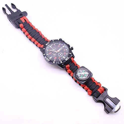 Imagen de zwbfu 5 en 1 pulsera de paracord reloj de supervivencia al aire libre con brújula/inicio de fuego/silbato/kits de herramientas de supervivencia de paracord alternativa