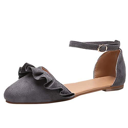 Makefortune-Schuhe Mode Damenschuhe Faux Wildleder Knöchelriemen D'Orsay Spitz Ballerinas Wide Fit Sandalen Plus Size Flache Kleid Sandalen Pumps für Frauen Damen Dorsay Pump Schuhe