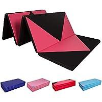 CCLIFE Colchoneta Plegable de Gimnasia y Colchoneta Yoga Colchoneta Deportiva Yoga estrilla 5 Pliegues, Color:Negro y Rojo A
