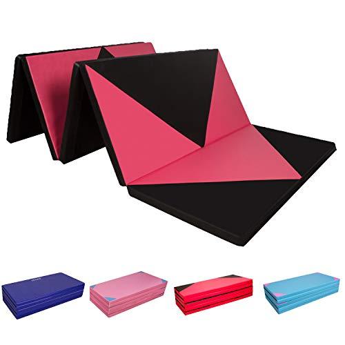 faltbare gymnastikmatte CCLIFE 300x120x5cm Weichbodenmatte Turnmatte Klappbar Gymnastikmatte Yogamatte Fitnessmatte Farbeauswahl, Farbe:Schwarz & Rot A