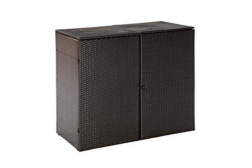 Mülltonnenbox für 2x Tonnen bis 120 Liter, 129x66x109cm, Stahl + Polyrattan Geflecht mocca - 3