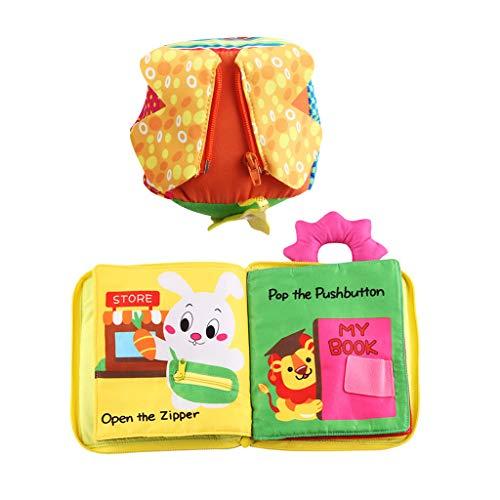 Homyl Juguete de Cubo de Hebilla Cremallera Botón con Libro de Tela Juegopara Aprendizaje de Vestir de Bebés