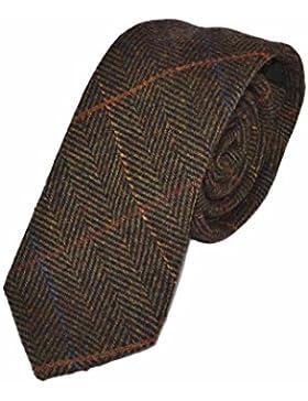 Corbata de Espiguilla Verde Oliva Oscuro a Cuadros