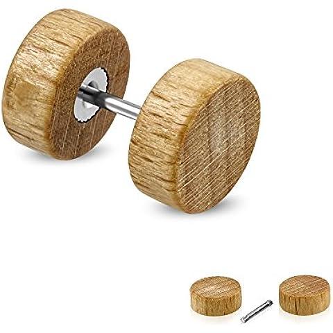 Held® legno Fake Plug in marrone chiaro–2misure a scelta–fedele orecchini Avvitare–hellb Rauner Fake Tunnel–Piercing, orecchini tunnel–Wood, [2.] - 10 mm