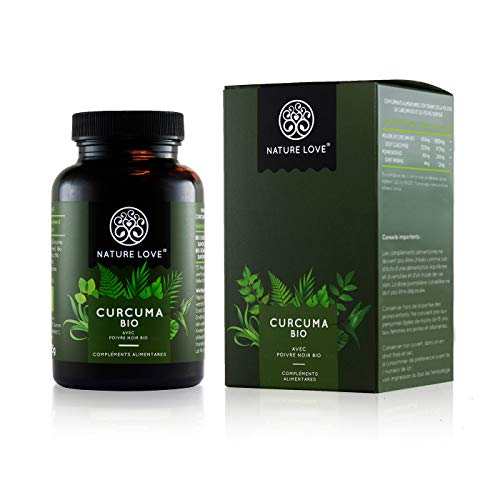 NATURE LOVE Curcuma Bio capsules - 2150 mg par dose quotidienne. 240 capsules véganes. Testé en laboratoire & certifié bio. Sans stéarate de magnésium. Dosage élevé, végan, fabriqué en Allemagne