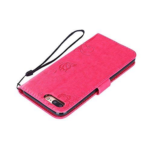 Coque iPhone 7 Plus, Housse iPhone 7 Plus Cuir, SpiritSun Etui Coque pour iPhone 7 Plus (5.5 pouces) Élégant Papillon et Fleur Motif Leather Housse Téléphone Stand Wallet Case Luxe PU Cuir Pochette Fo Rouge